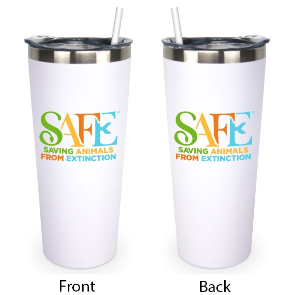 WHITE TUMBLER WITH SAFE LOGO