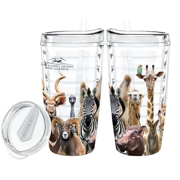 HEADS AND TAILS TUMBLER WITH STRAW