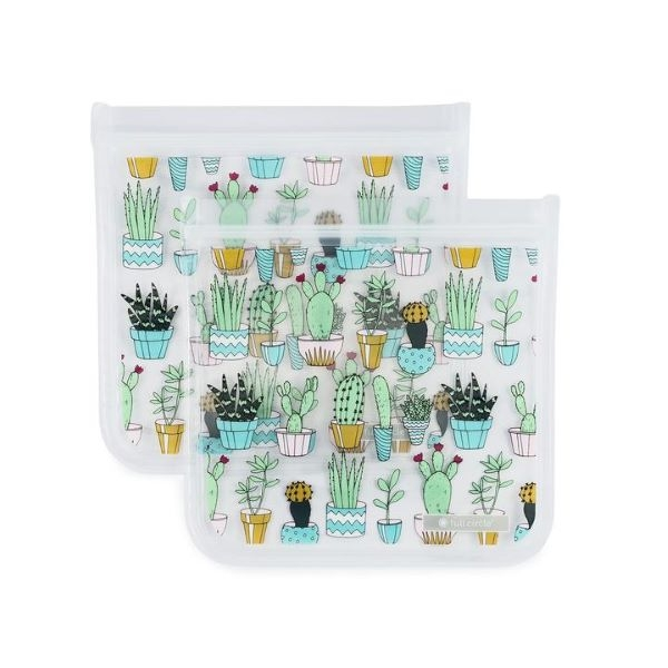 REUSABLE SANDWICH BAG 2 PACK CACTUS