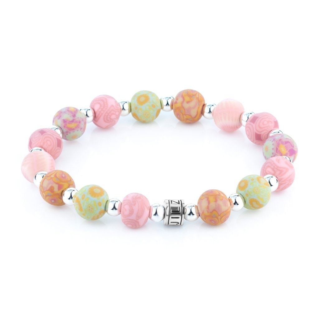 PINK PATTERNS CRYSTAL BEAD BRACELET