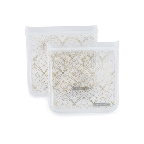 REUSABLE SANDWICH BAG 2 PACK GOLD GEOMETRIC