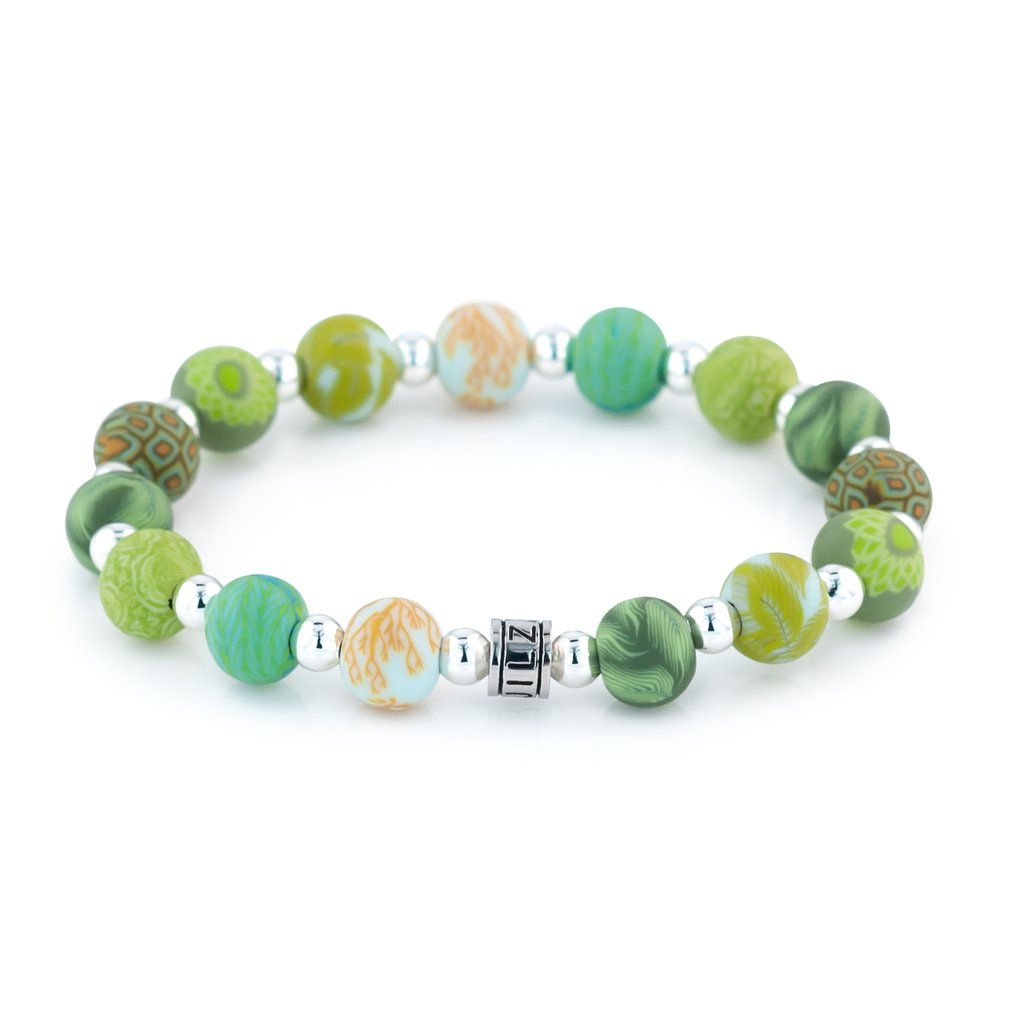 GREEN BOTANICAL BEADED BRACELET