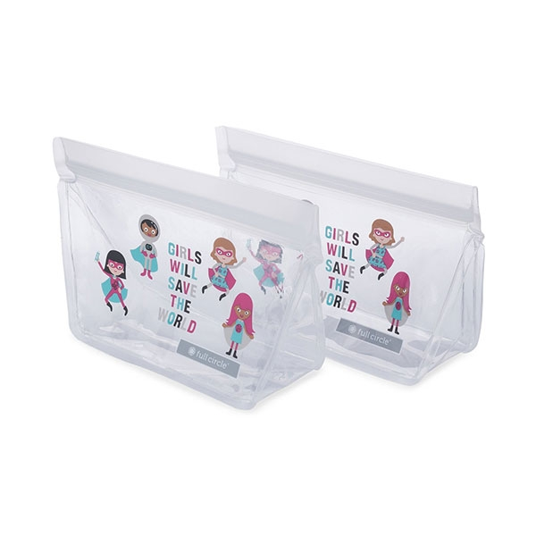REUSABLE SNACK BAG 2 PACK GIRL HEROS